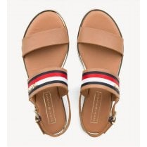 Tommy Hilfiger Signature Tape Flat Sandal - Tan