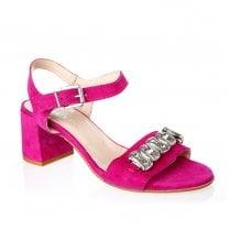 Nicola Sexton 4653 Fuchsia Suede Block Heeled Sandals