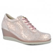Pitillos Womens Wedge Sneakers Shoes - Rose Gold