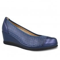 Pitillos Womens Wedge Heeled Casual Pump Shoes - Navy Blue