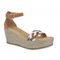 Pitillos Womens Wedge High Heel Ankle Strap Sandals - White/Tan