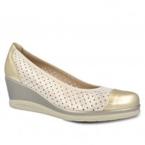 Pitillos Womens Wedge Heeled Casual Pump Shoes - Gold