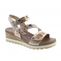 Remonte D6358-31 Ladies Rose Gold Floral Platform Velcro Sandals