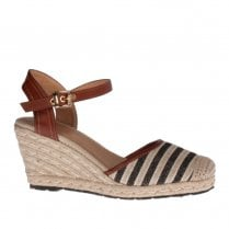 Escape Vail High Heeled Espadrille Summer Shoes - Black Latte