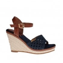 Escape Mesa High Heeled Espadrille Summer Shoes - Denim/Tan