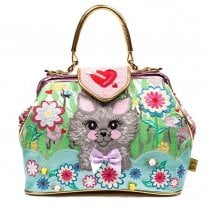 Irregular Choice Here Kitty Kitty Handbag - Pink/Green/Gold