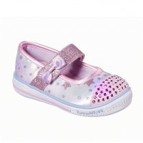 Skechers Girls Twinkle Toes: Twinkle Play Starry Spark Velcro Sneakers - Pink