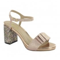 Menbur Arena 09281 Elegant Glitter Block Heeled Sandals - Blush Make-Up