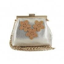 Menbur Verbicaro Flower Embellishment Metallic Small Bag - Rose Gold 44996