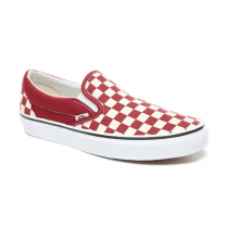 Vans Mens Checkerboard Slip-On Shoes - Rumba Red/True White