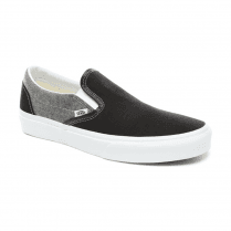 Vans Unisex Chambray Classic Slip-On Shoes - Canvas Black/True White