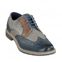 Bugatti Mens Blue Grey Leather Brogue Shoes - 312-25904