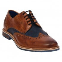 Bugatti Mens Smart Cognac Navy Leather Brogue Shoes - 311-25904