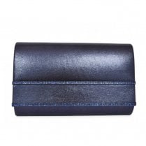 Glamour Eddi Metallic Gem Trim Clutch Bag - Navy