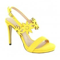 Menbur Vallerano Yellow High Heeled Suede Sandals - 20192