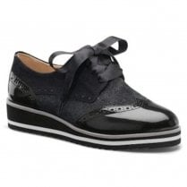 Caprice Leather Lace Up Low Wedge Brogues Shoes - Black