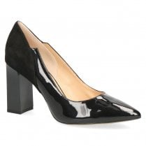 Caprice Premium Leather Pointed Toe Block High Heels - Black