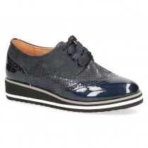 Caprice Leather Lace Up Low Wedge Brogues Shoes - Blue