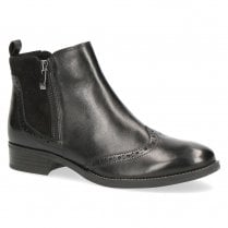 Caprice Womens Leather Zip Side Flat Ankle Boots - Black