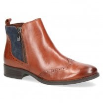Caprice Womens Leather Zip Side Flat Ankle Boots - Cognac