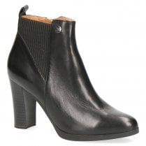 Caprice Leather Block Heled Ankle Boots - Black