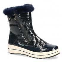 Caprice Womens Fur Trimmed Over Ankle Warm Boots - Blue Ocean