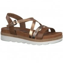 Marco Tozzi Womens Flat Wedge Sandals 28412 - Cognac