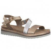 Marco Tozzi Womens Flat Wedge Sandals 28627 - Rose Gold