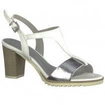 Marco Tozzi Womens Block Heeled T-Bar Sandals 28732 - White Silver