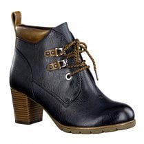 Marco Tozzi Womens Block Heeled Lace Up Ankle Boots - Navy/Tan