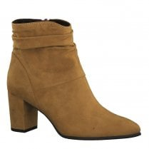 Marco Tozzi Womens Block Heeled Suede Ankle Boots - Mustard