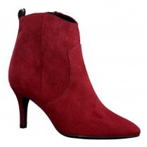 Marco Tozzi Womens Mid Heel Pointed Toe Ankle Boots - Chianti Red