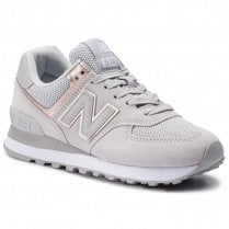 New Balance Womens 574 Grey/Gold Suede Mesh Sneakers - WL574MEB