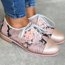 Maria Leon Ladies Leather Brogue Lace Up Shoes - Pink Snake