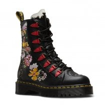 Dr Martens Womens NYBERG Leather 8-eye Silhouette Ankle Boots - Black/Multi Flower
