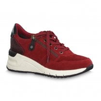 Tamaris Womens Wedge Suede Sneakers Shoes - Red 23727