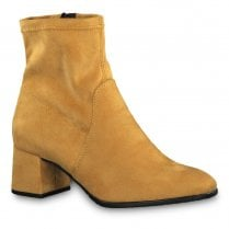 Tamaris Womens Yellow Suede Stretch Ankle Mid Heeled Boots