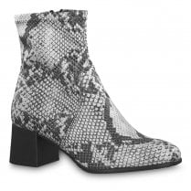 Tamaris Womens Snake Grey Suede Stretch Ankle Mid Heeled Boots