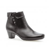 Gabor Glove Mid Block Heel Ankle Boots - Black