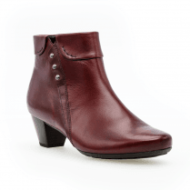 Gabor Glove Mid Block Heel Ankle Boots - Red