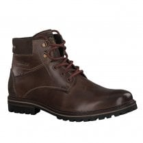 S.Oliver Mens Leather Laced Casual Ankle Boots - Dark Brown
