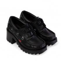 Kickers Girls Klio Ghillie Block Heeled Slip On School Shoe - Black Leather