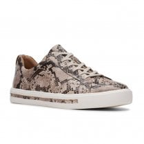 Clarks Womens Un Maul Lace Natural Snake Leather Trainers D WIDTH
