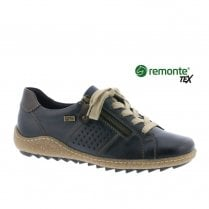Remonte Ladies Lace Up Zip Sneakers Shoes - Navy Blue