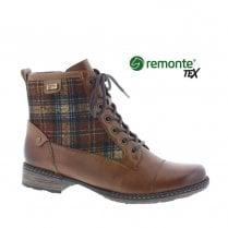 Remonte D4354 Ladies Leather Flat Lace Up Boots - Tan