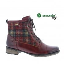 Remonte D4354 Ladies Leather Flat Lace Up Boots - Burgundy