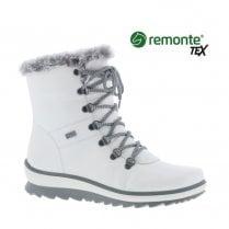 Remonte R8472-80 Ladies Flat Over Ankle Tex Boots - White