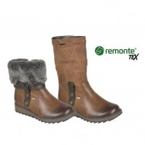 Remonte D8874 Ladies Leather Flat Tex Over Ankle Boots - Brown