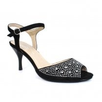 Lunar Jess JLH126 Black Peep Toe Elegance Heeled Sandals