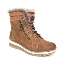 Lunar GLB003 Amelia Tan Fur Trim Over Ankle Boots